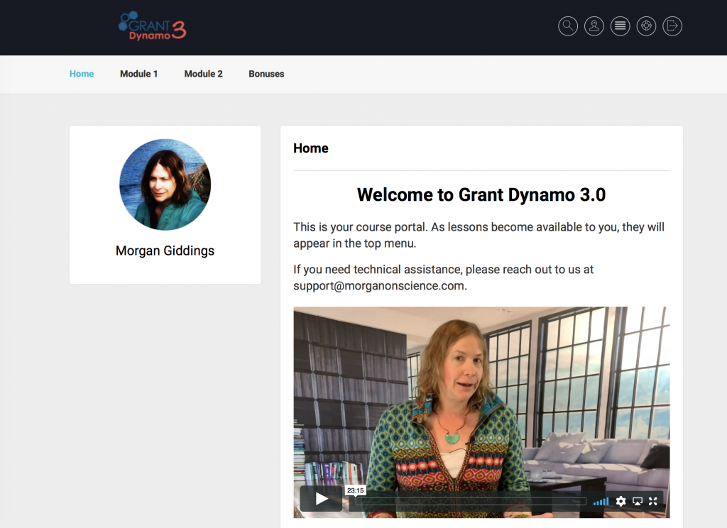 Grant Dynamo 3 Membership Site Screehshot